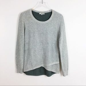 Madewell Two Tone Waffle Knit Cross Front Sweater